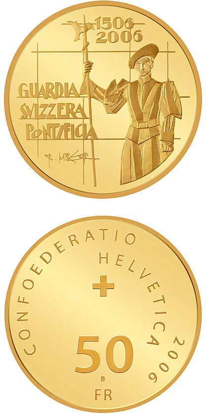Image of 50 francs coin - 500 years of the Pontifical Swiss Guard | Switzerland 2006