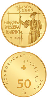 50 francs 500 years of the Pontifical Swiss Guard - 2006 - Series: Gold franc coins - Switzerland