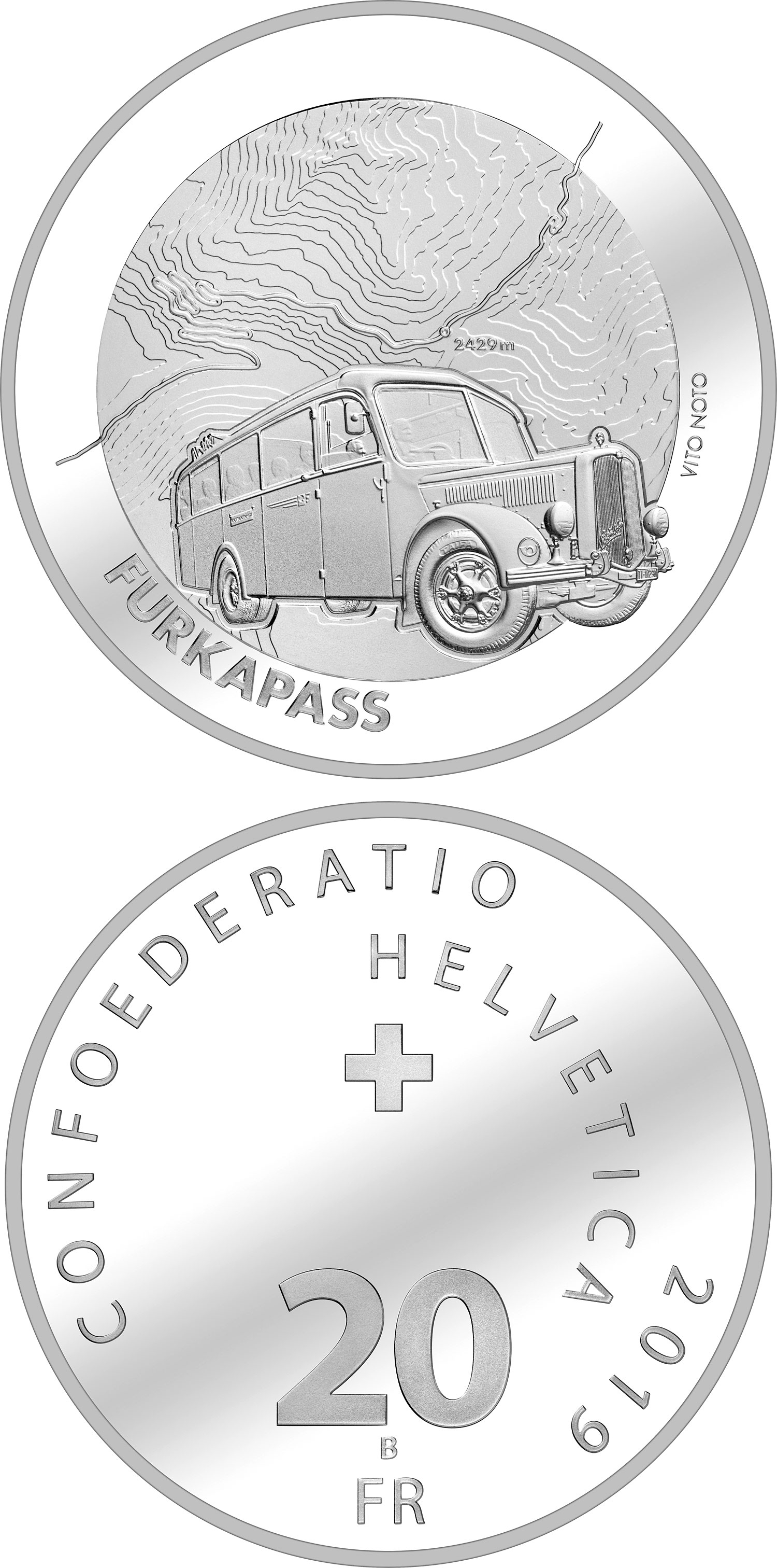 Image of 20 francs coin - Furka Pass | Switzerland 2019.  The Silver coin is of Proof, BU quality.