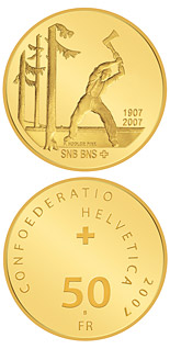 50 franc coin 100 years of the Swiss National Bank | Switzerland 2007