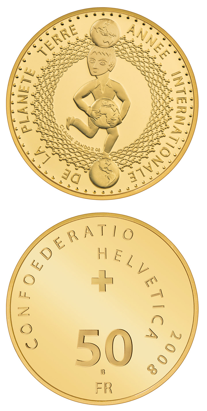 Image of 50 francs coin - International Year of Planet Earth | Switzerland 2008