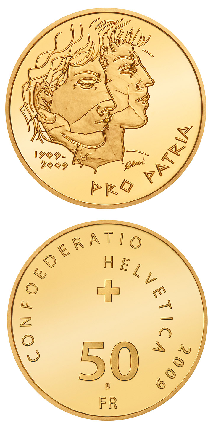 Image of 50 francs coin – 100th anniversary of Pro Patria | Switzerland 2009