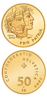 50 franc coin 100th anniversary of Pro Patria | Switzerland 2009