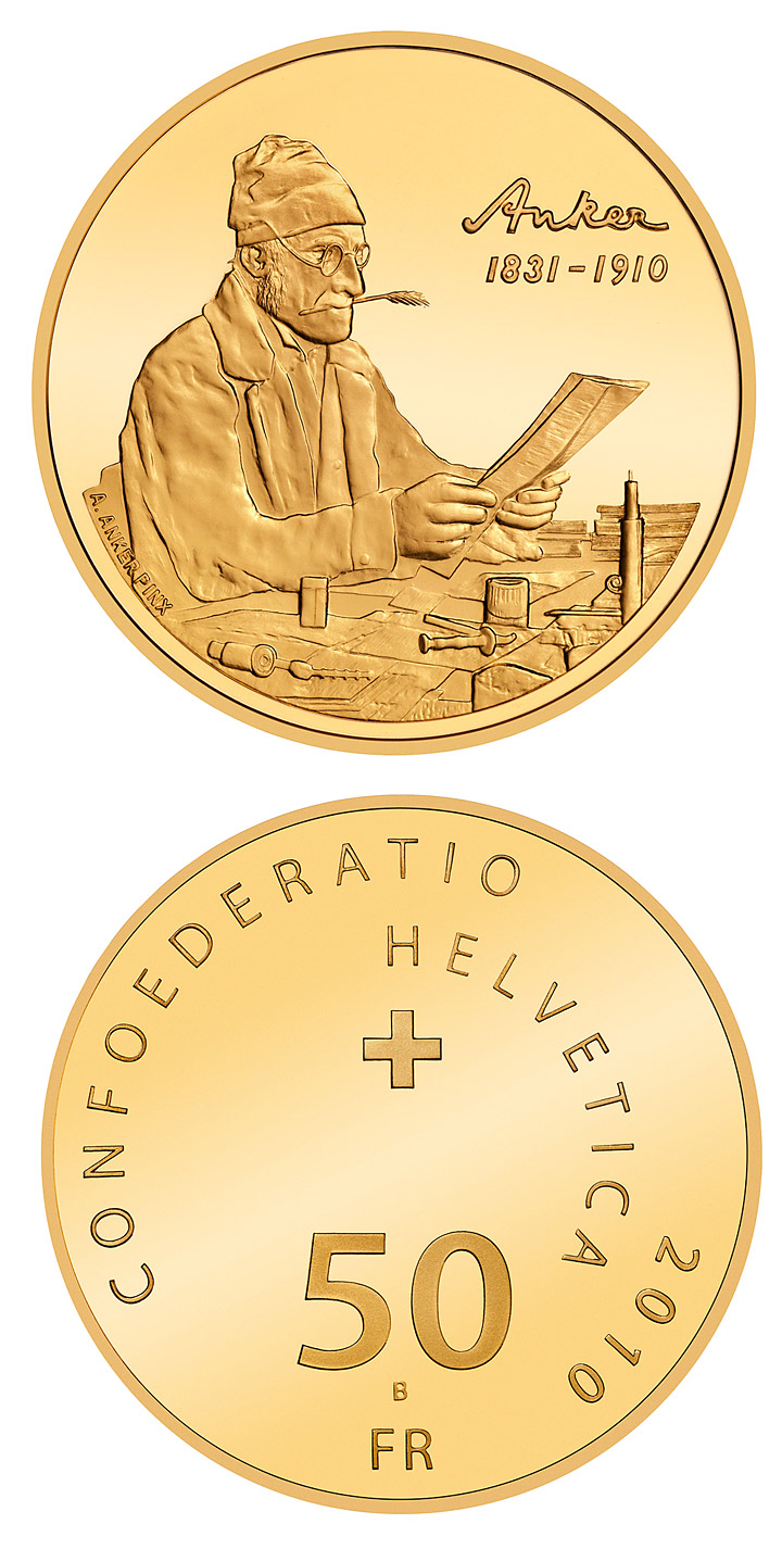 Image of 50 francs coin – Centenary of Albert Anker's death | Switzerland 2010