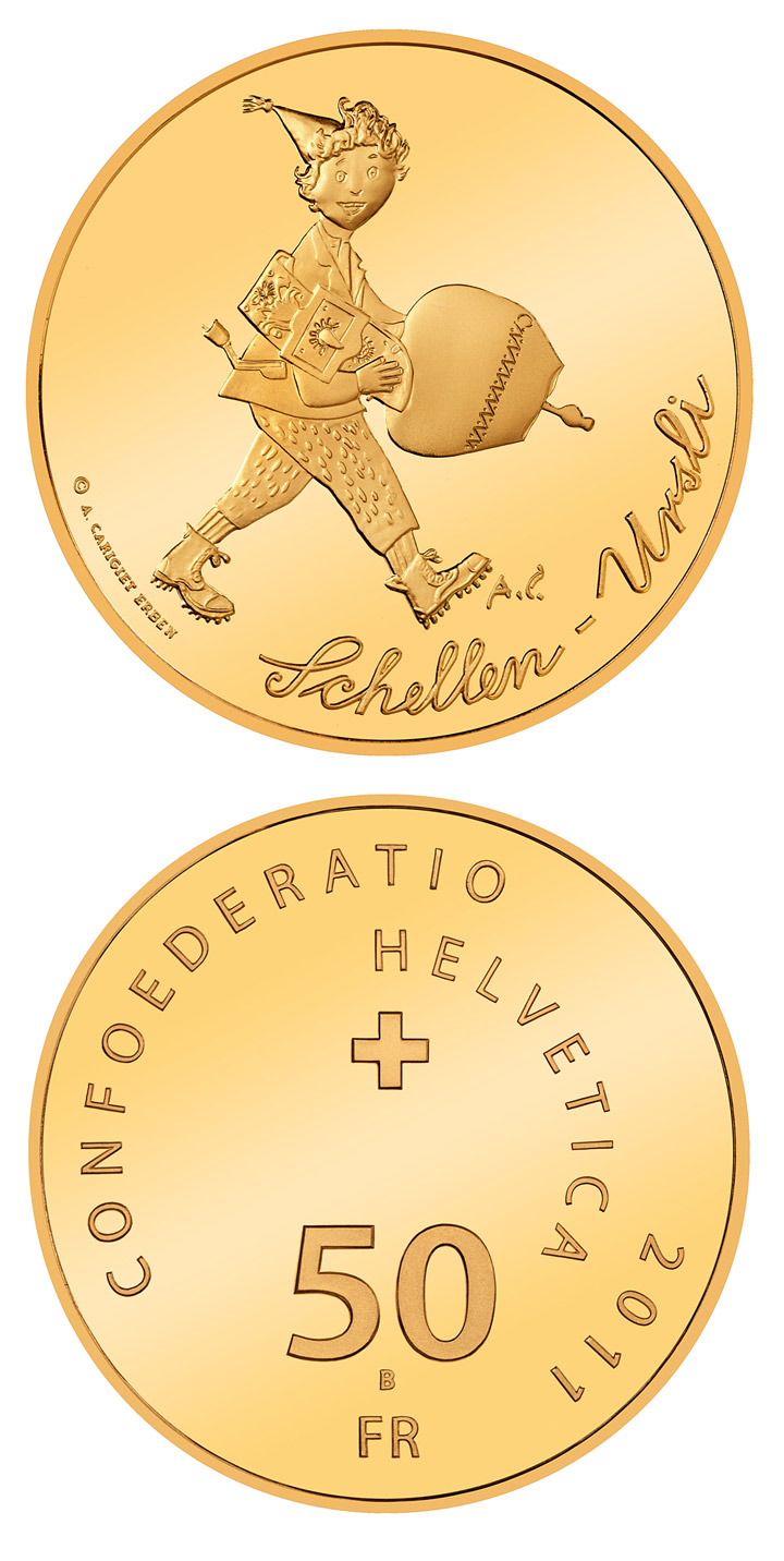 50 francs A bell for Ursli - 2011 - Series: Gold franc coins - Switzerland