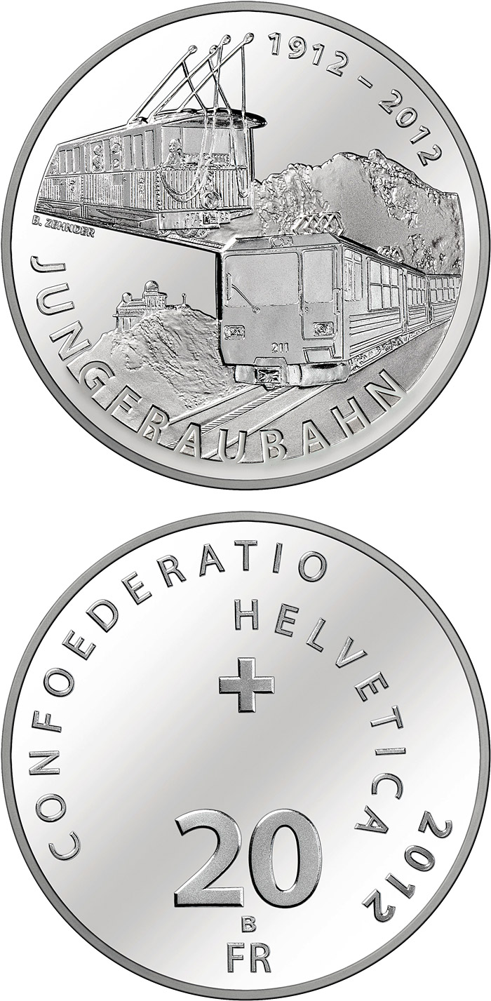 Image of 20 franc coin 100 years of Jungfrau Railway | Switzerland 2012.  The Silver coin is of Proof, BU quality.