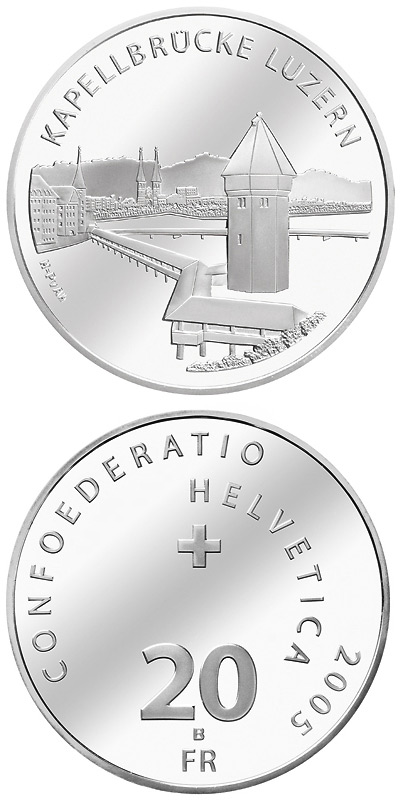 Image of 20 francs coin - Chapel bridge Lucerne | Switzerland 2005.  The Silver coin is of Proof, BU quality.