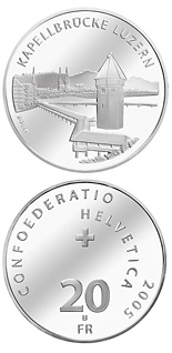 20 francs Chapel bridge Lucerne - 2005 - Series: Silver 20 francs coins - Switzerland