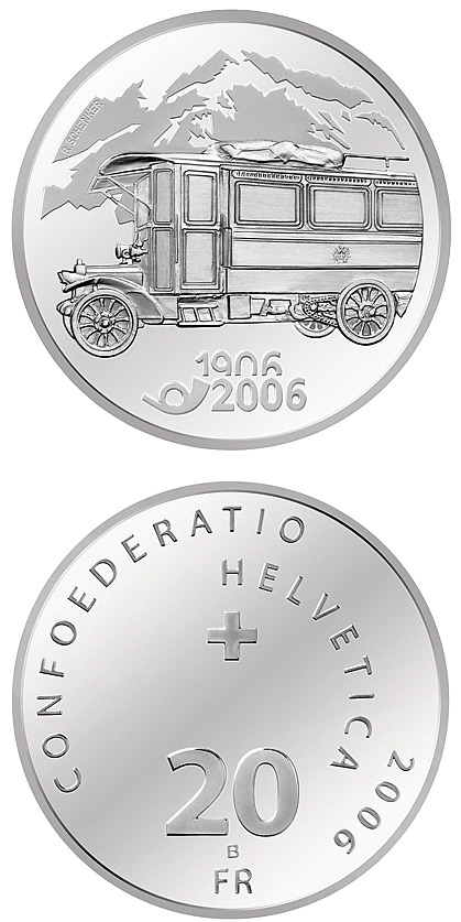 Image of 20 francs coin - 100 years of post bus | Switzerland 2006.  The Silver coin is of Proof, BU quality.