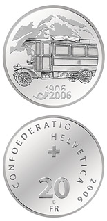 20 franc coin 100 years of post bus | Switzerland 2006