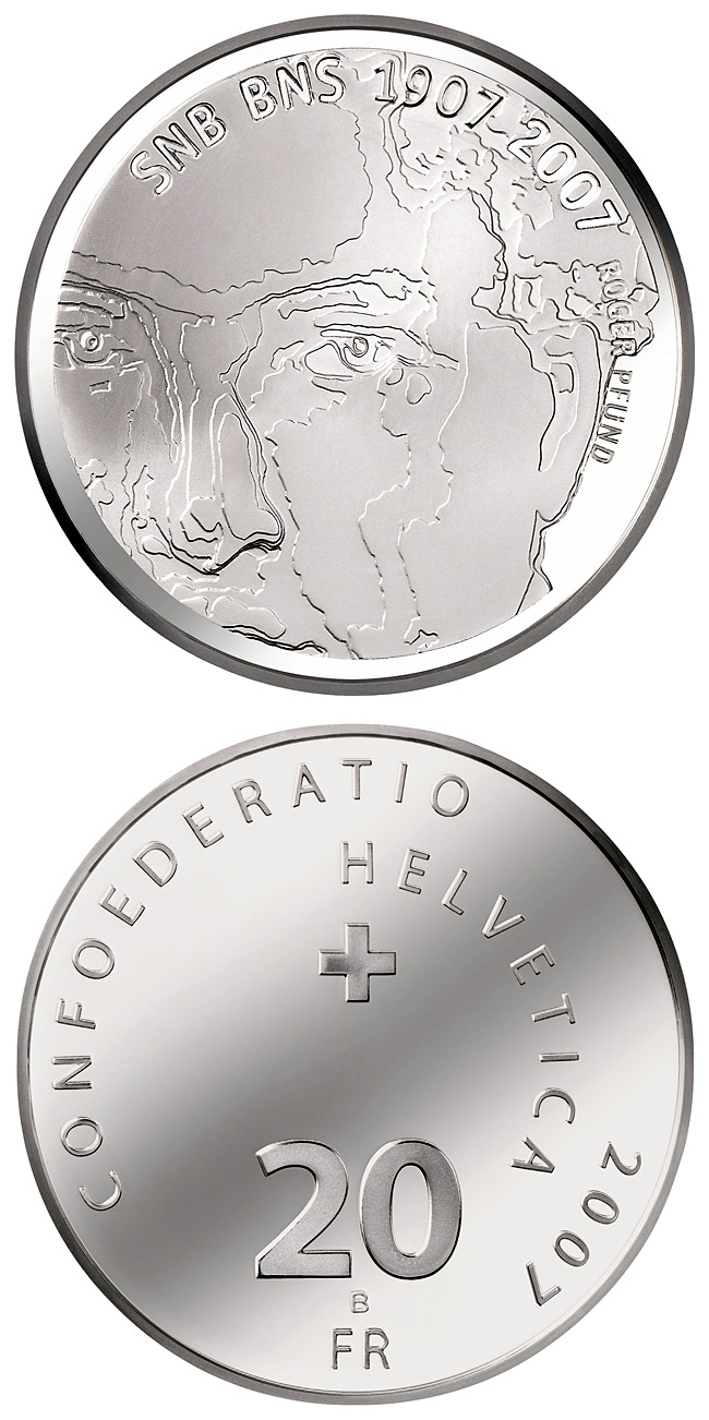 Image of 20 francs coin – 100 years of the Swiss National Bank | Switzerland 2007.  The Silver coin is of Proof, BU quality.
