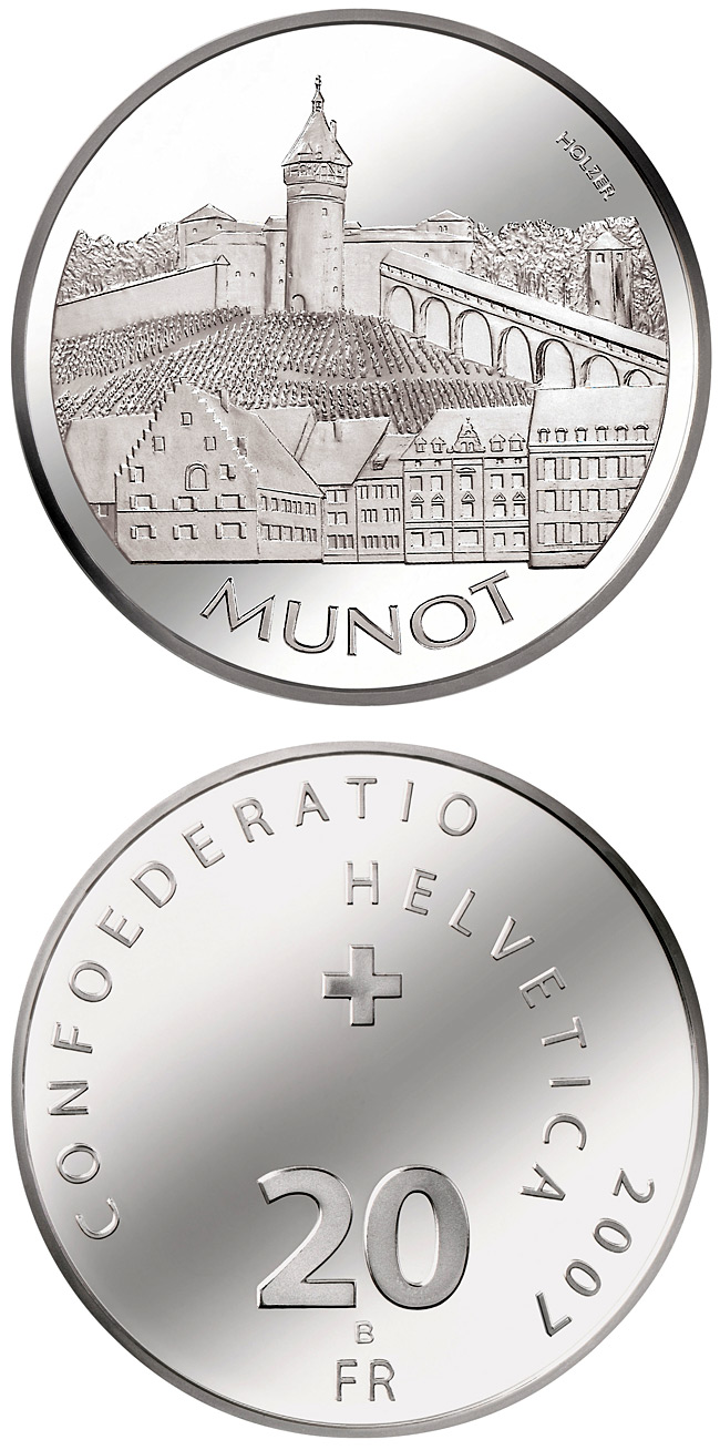 Image of Munot Schaffhausen – 20 franc coin Switzerland 2007.  The Silver coin is of Proof, BU quality.