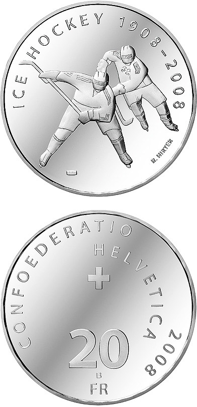 Image of 20 francs coin - Ice hockey Centenary | Switzerland 2008.  The Silver coin is of Proof, BU quality.
