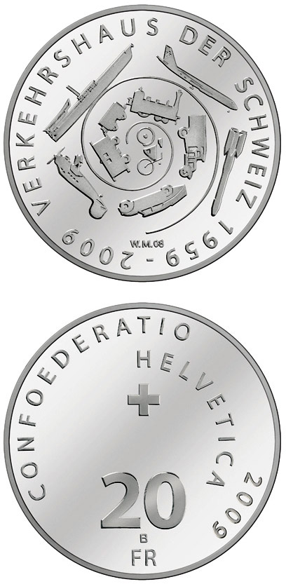Image of 20 francs coin – 50th anniversary of the Swiss Museum of Transport | Switzerland 2009.  The Silver coin is of Proof, BU quality.