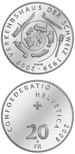 20 francs 50th anniversary of the Swiss Museum of Transport - 2009 - Series: Silver 20 francs coins - Switzerland