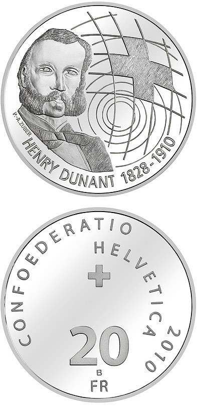 Image of 20 francs coin – Centenary of Henry Dunant's death | Switzerland 2010.  The Silver coin is of Proof, BU quality.