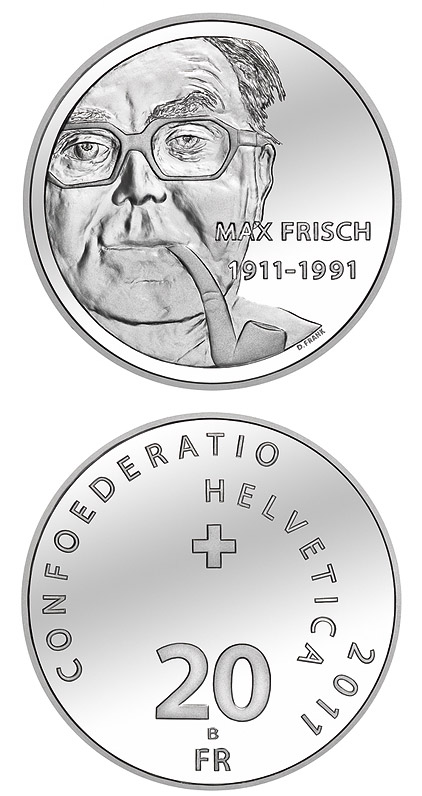 Image of 20 francs coin – 100th anniversary of Max Frisch's birthday | Switzerland 2011.  The Silver coin is of Proof, BU quality.