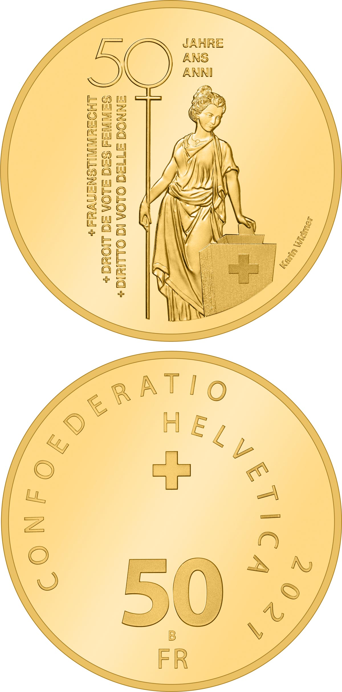 Image of 50 francs coin - 50 years of Swiss women's right to vote | Switzerland 2021