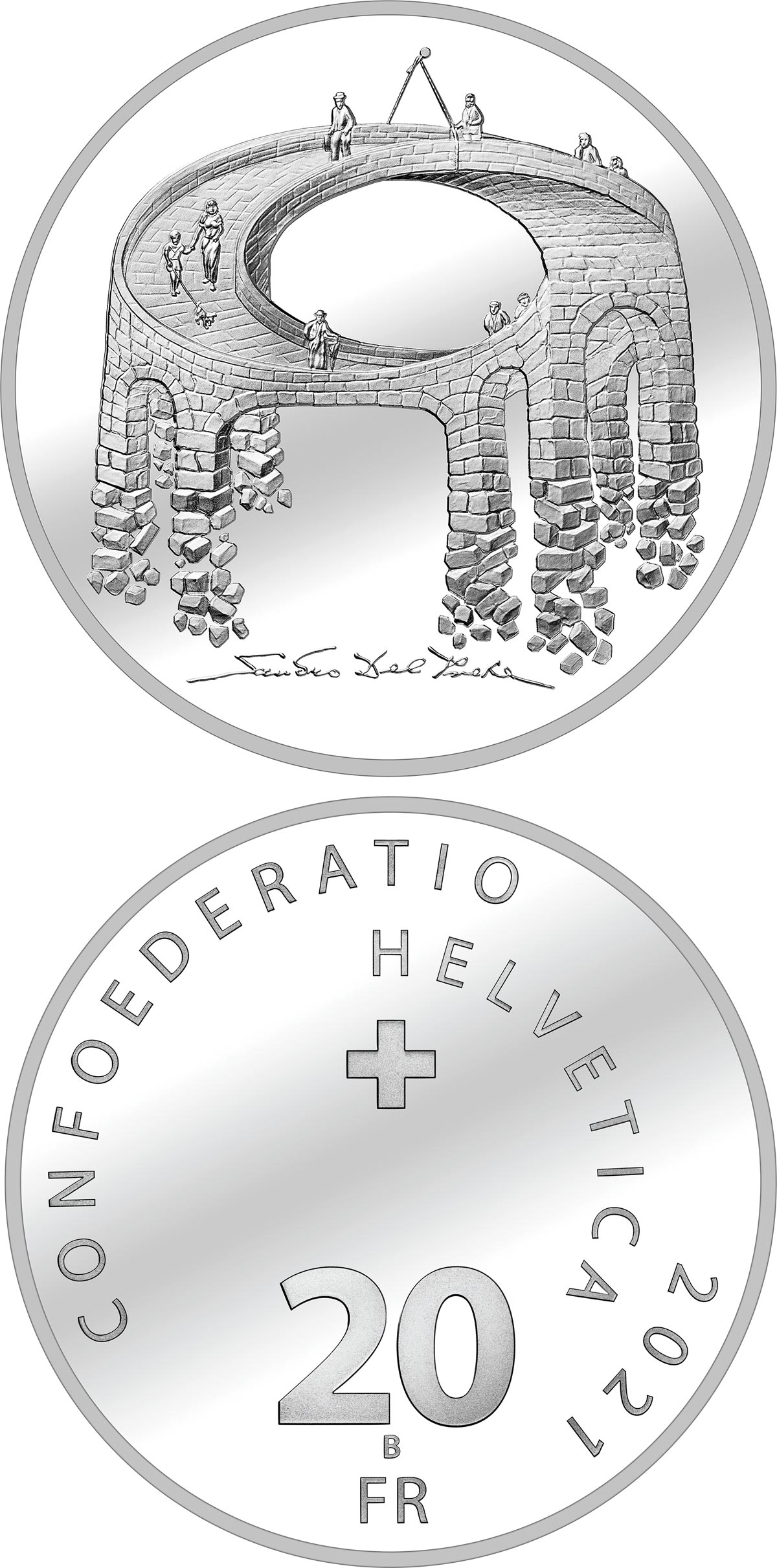 Image of 20 francs coin - Illusion – The Bridge of Life | Switzerland 2021.  The Silver coin is of Proof, BU quality.