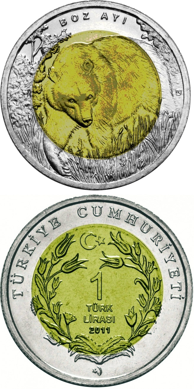 Image of a coin 1 Lira | Turkey | Grizzly Bear  | 2011