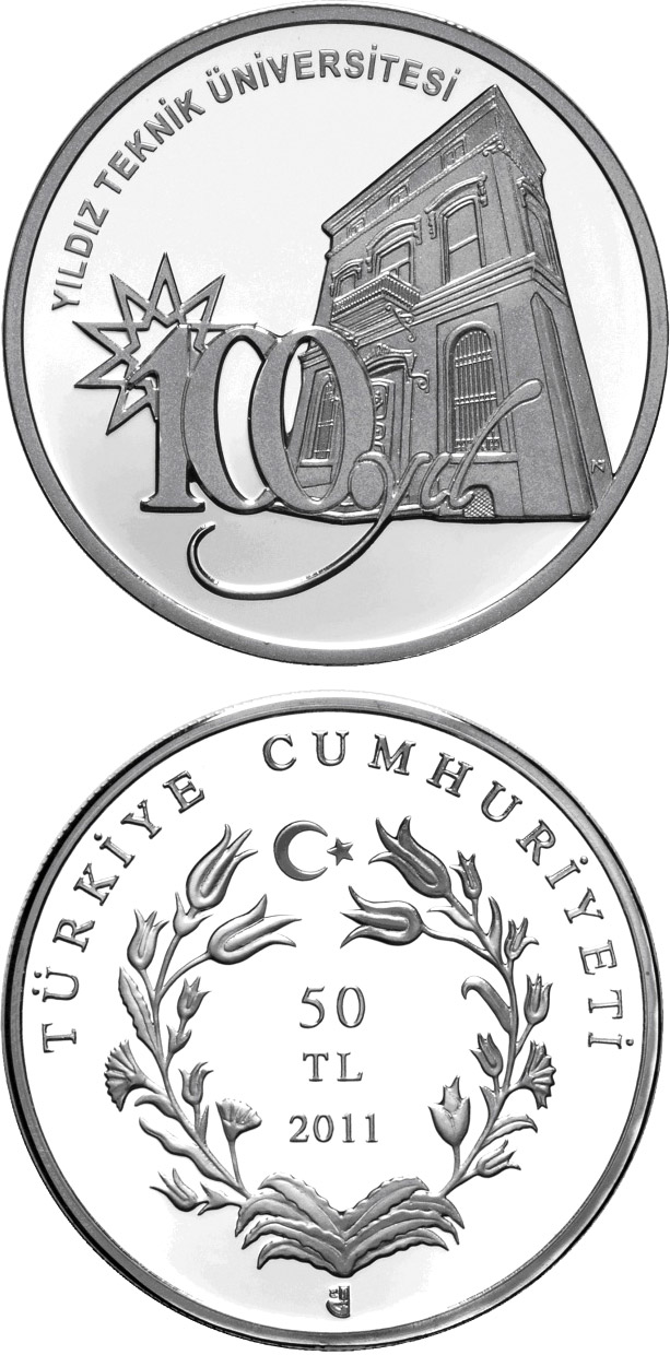 Image of 50 Lira coin - 100th Anniversary of the Yildiz Technical University  | Turkey 2011.  The Silver coin is of Proof quality.