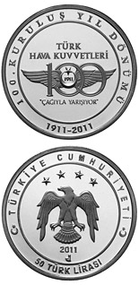 50 Lira 100th Anniversary of the Turkish Air Force - 2011 - Series: Silver 50 Lira coins - Turkey