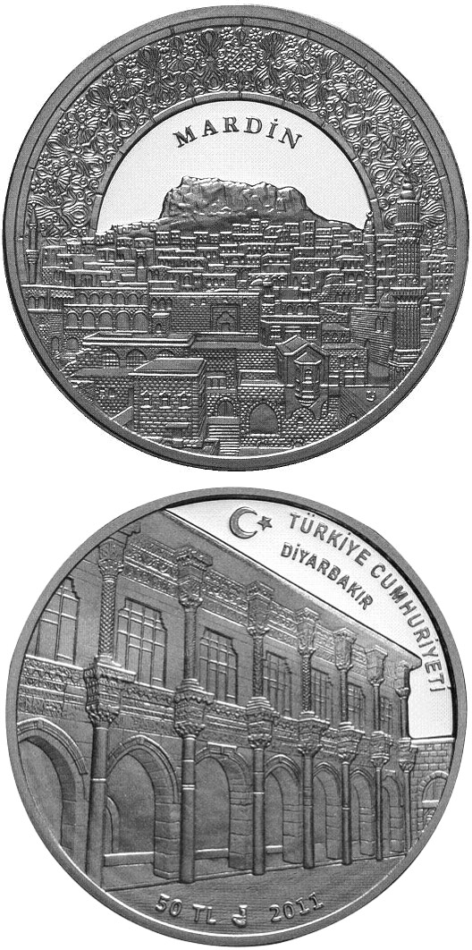 Image of 50 Lira coin - Mardin – Diyarbakır | Turkey 2011.  The Silver coin is of Proof quality.