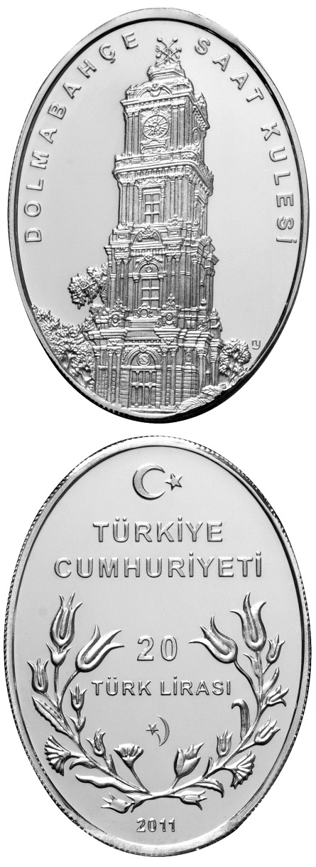 Image of a coin 20 Lira | Turkey | Dolmabahçe Palace Clock Tower  | 2011