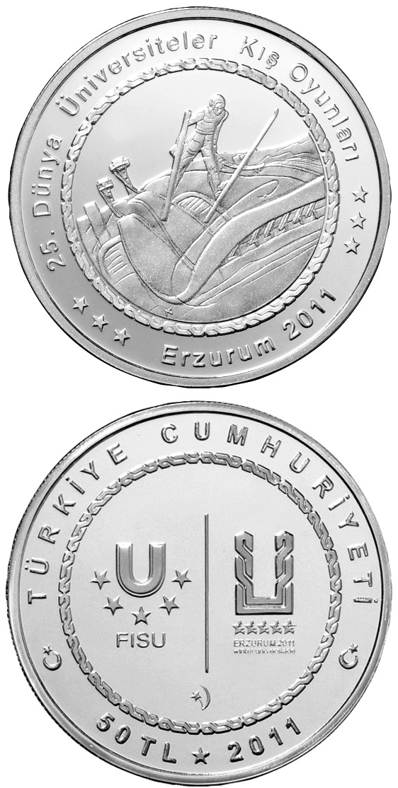 Image of 50 Lira coin - XXV. World University Winter Games in Erzurum – Skiing | Turkey 2011.  The Silver coin is of Proof quality.