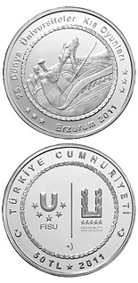 50 Lira XXV. World University Winter Games in Erzurum – Skiing - 2011 - Series: Silver 50 Lira coins - Turkey