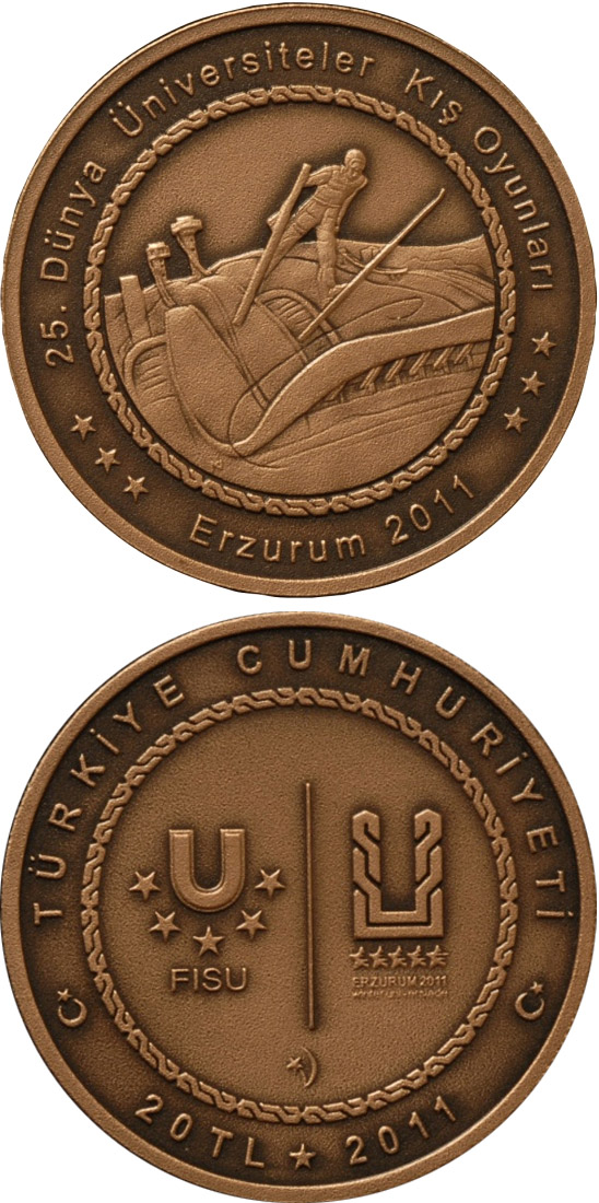 Image of 20 Lira coin XXV. World University Winter Games in Erzurum – Skiing | Turkey 2011.  The Bronze coin is of BU quality.