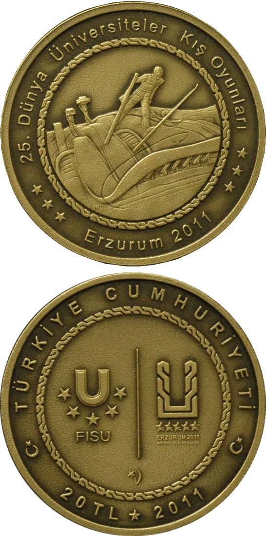 Image of XXV. World University Winter Games in Erzurum – Skiing – 20 Lira coin Turkey 2011.  The Brass coin is of BU quality.
