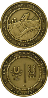 20 Lira coin XXV. World University Winter Games in Erzurum – Skiing | Turkey 2011