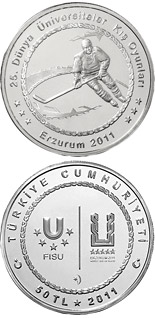 50 Lira XXV. World University Winter Games in Erzurum – Hockey - 2011 - Series: Silver 50 Lira coins - Turkey