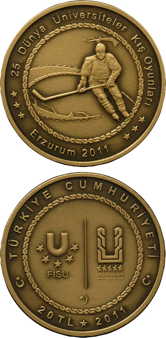 Image of 20 Lira coin - XXV. World University Winter Games in Erzurum – Hockey | Turkey 2011.  The Brass coin is of BU quality.