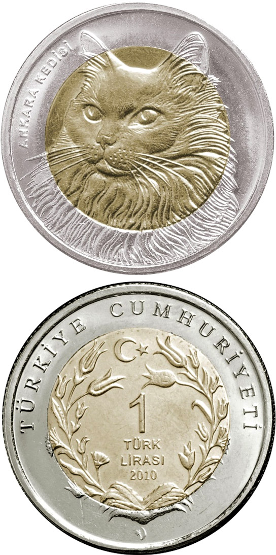 Image of 1 Lira coin - Turkish Angora Cat  | Turkey 2011.  The German silver (CuNiZn) coin is of UNC quality.
