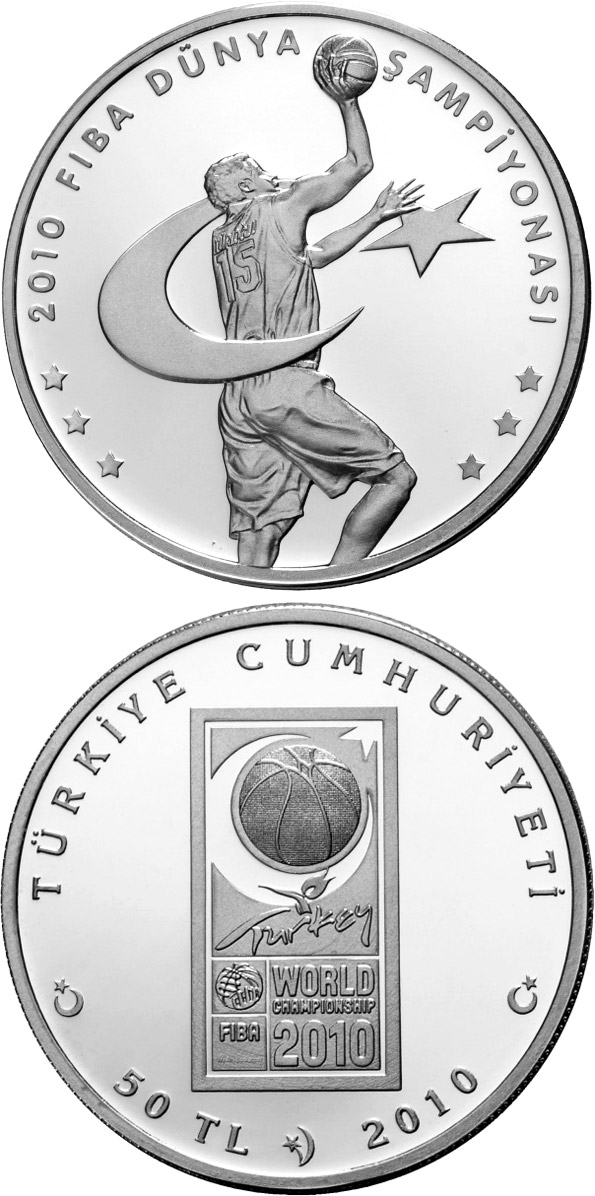 Image of 50 Lira coin - 2010 FIBA World Championship | Turkey 2010.  The Silver coin is of Proof quality.