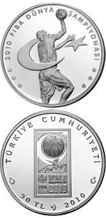 50 Lira 2010 FIBA World Championship - 2010 - Series: Silver 50 Lira coins - Turkey
