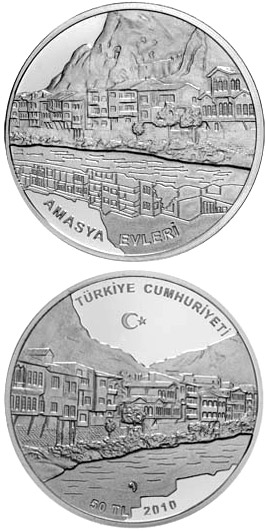 50 Lira Ottoman hontic tomb in Amasya  - 2010 - Series: Silver 50 Lira coins - Turkey