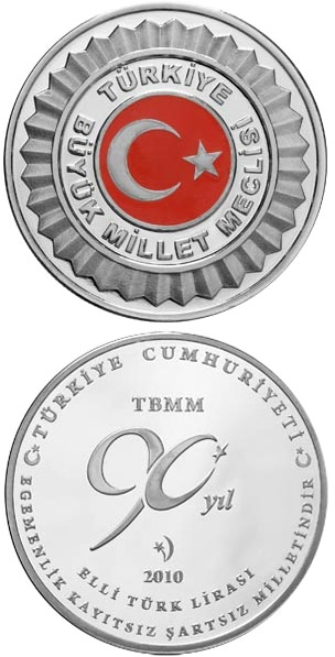 Image of 50 Lira coin - Grand National Assembly of Turkey  | Turkey 2010.  The Silver coin is of Proof quality.