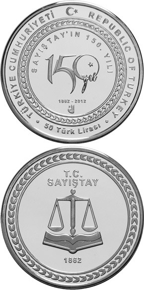 Image of 50 Lira coin - 150 Years of the Court | Turkey 2012.  The Silver coin is of Proof quality.