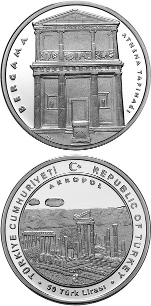 Image of 50 Lira coin - The Ancient City of Pergamon | Turkey 2012.  The Silver coin is of Proof quality.