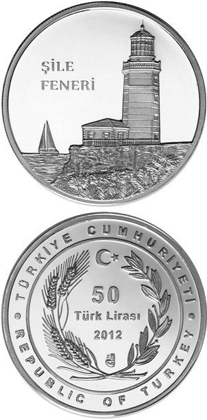 Image of 50 Lira coin - Şile Feneri | Turkey 2012.  The Silver coin is of Proof quality.