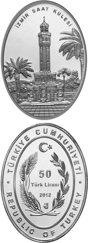 Image of Izmir Clock Tower – 50 Lira coin Turkey 2012.  The Silver coin is of Proof quality.