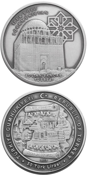 Image of 50 Lira coin - Silk Road - Turkmenistan | Turkey 2012.  The Silver coin is of BU quality.