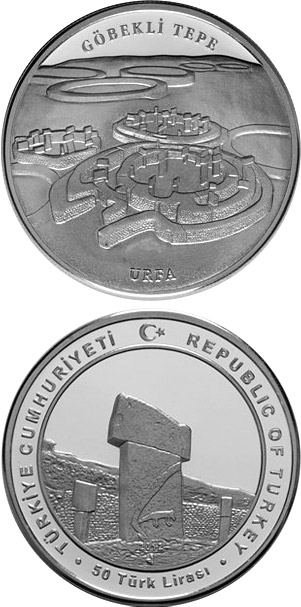 Image of 50 Lira coin - Göbekli Tepe | Turkey 2012.  The Silver coin is of Proof quality.