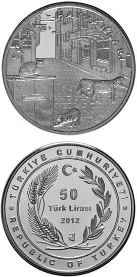 Image of 50 Lira coin - Stray Animals | Turkey 2012.  The Silver coin is of Proof quality.