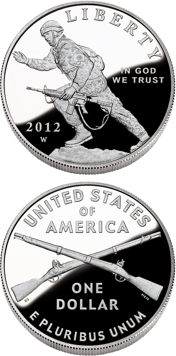 Image of 1 dollar coin - Infantry Soldier | USA 2012.  The Silver coin is of Proof, BU quality.