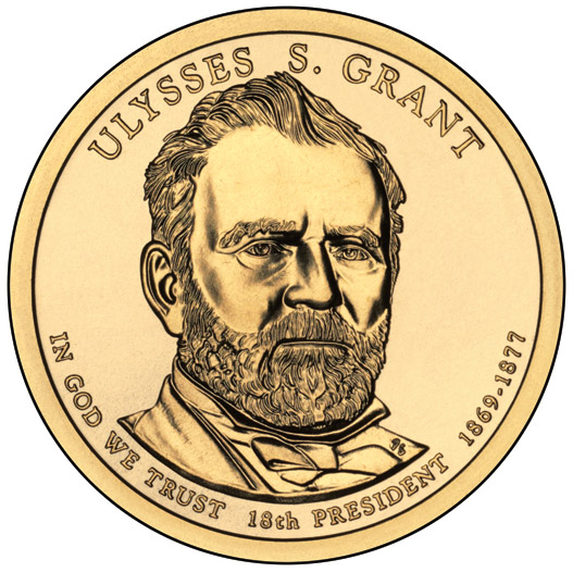 Image of 1 dollar coin - Ulysses S. Grant (1869-1877) | USA 2011.  The Nordic gold (CuZnAl) coin is of Proof, BU, UNC quality.