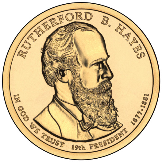 Image of 1 dollar coin - Rutherford B. Hayes (1877-1881) | USA 2011.  The Nordic gold (CuZnAl) coin is of Proof, BU, UNC quality.